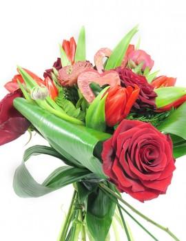 "bouquet rosso ""cuore"""