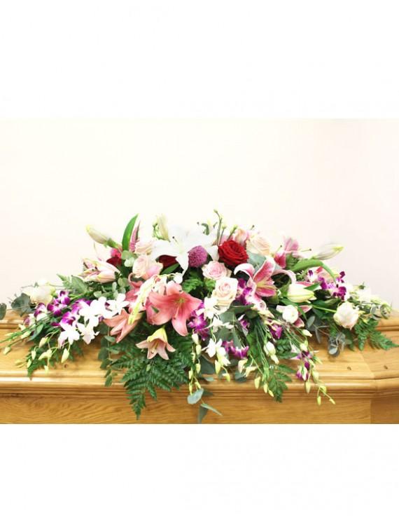 copricofano fiori misti rosa