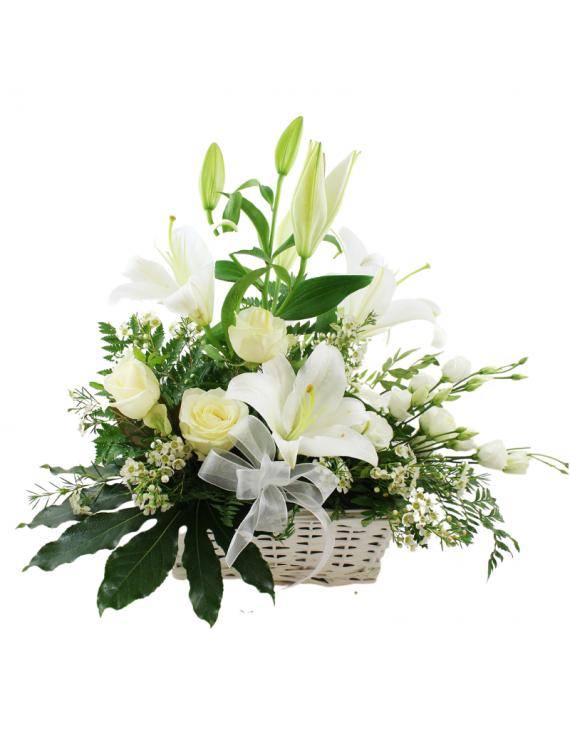 cestino fiori misti bianchi